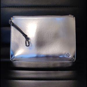 Tory Burch Bags - Tory Burch metallic silver logo oversized wallet